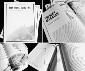 A collage of photos showing the print magazine.
