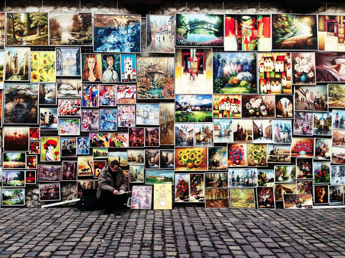 Photo of a street art display