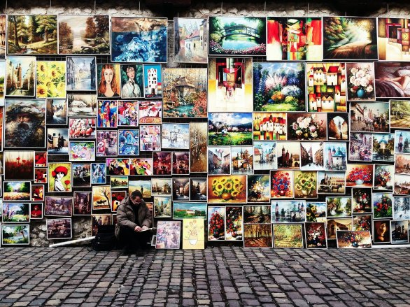 Photo of a street art display